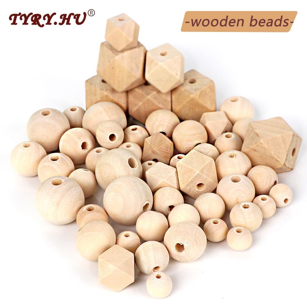Деревянные бусины TYRY.HU, Буковые бусины для прорезывания зубов, браслет, цепочка для пустышки, аксессуары для детей, деревянные крошечные бус...