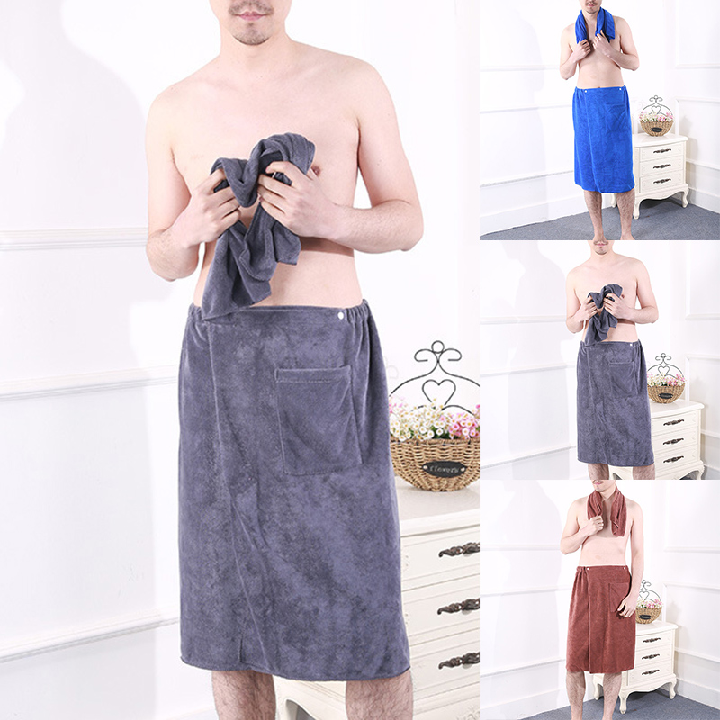 Men Soft Bathrobe Comfortable Homewear Solid Color Men Bath Skirts Towel Robes Home Pockets Mens Bathrobes Hombre