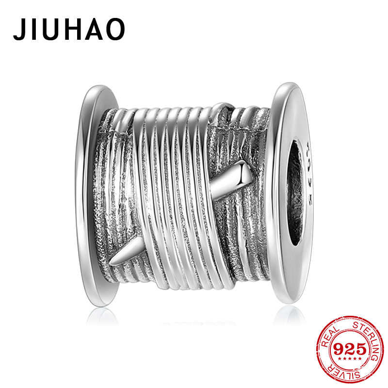New 925 Sterling Silver Round Sewing Thread Shape Beads Fit Original Pandora Charm Bracelet Fine Jewelry Making