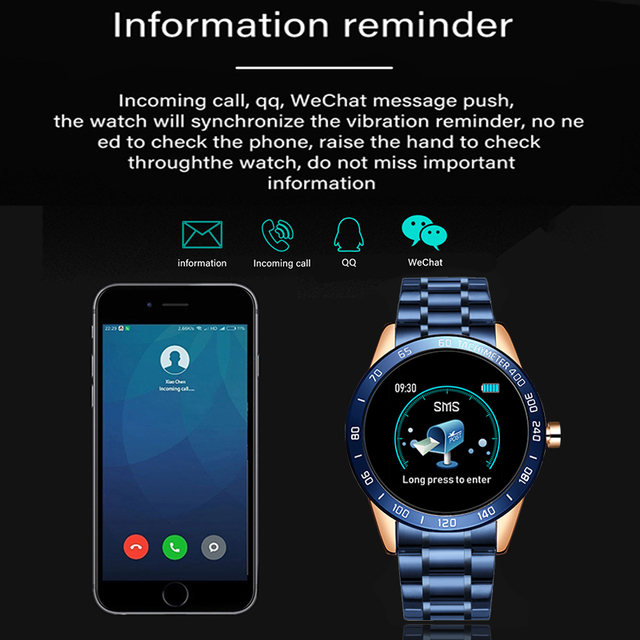 Smartwatch for Men Steel Band Heart Rate Blood Pressure Monitor Sport Multi-function Mode 5