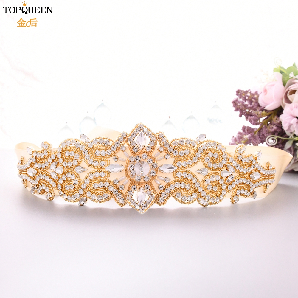 TOPQUEEN Gold Sash Wedding Rhinestone Belt Applique Sparkle Belts For Dresses Wedding Belt Art Decoration Bridal Sash Belt S26-G