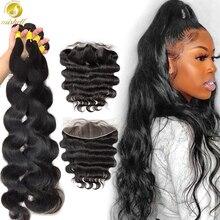 Mishell 30 32 34 40 Polegada onda do corpo feixes de tecer cabelo malaio com frontal feixes de cabelo humano com fechamento remy extensão do cabelo
