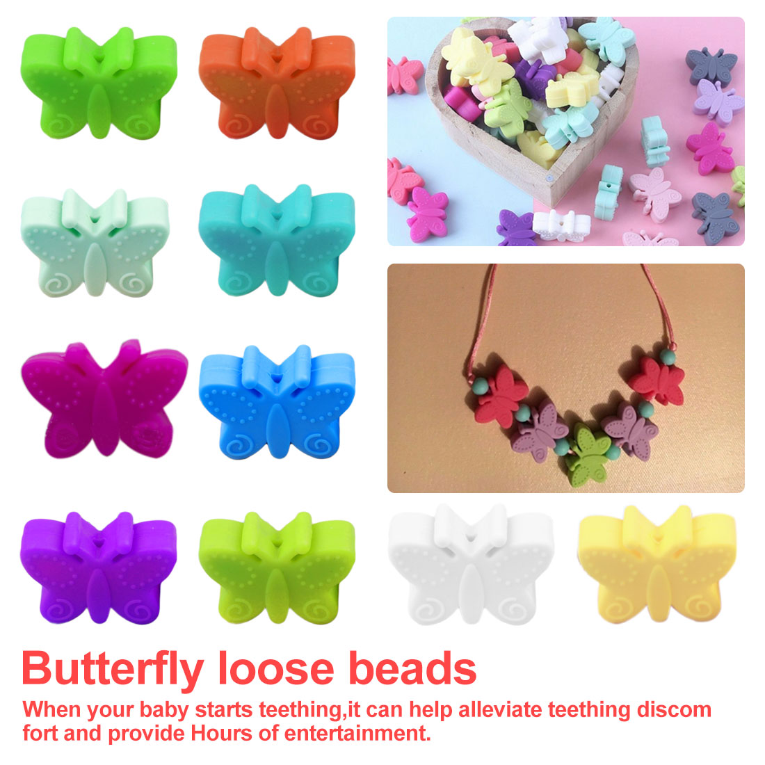 Let's Make 5PC Mini Butterfly  Silicone Beads  Eco-friendly Sensory Teething Necklace Food Grade Mom Nursing DIY Jewelry Baby Te