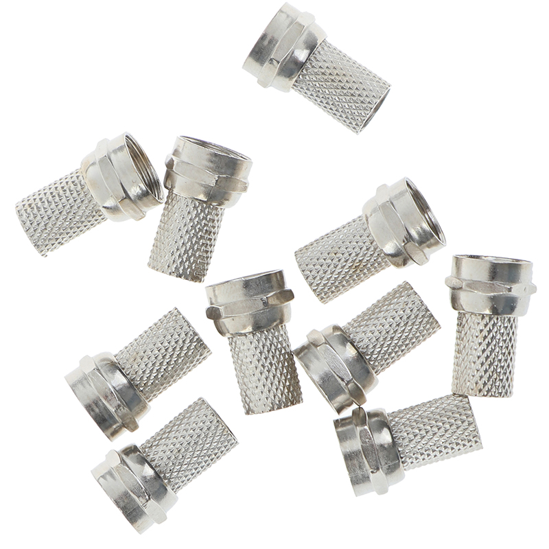 10Pcs 75-5 F Plug Connector Screw On Type For RG6 Satellite TV Antenna Coax Cable Twist-on