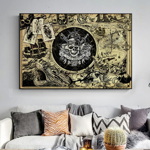 Pirate Of The Caribbean Mao Kun Map Movie Posters And Prints Skull Treasure Map Canvas Painting Picture On Wall Art Decoration