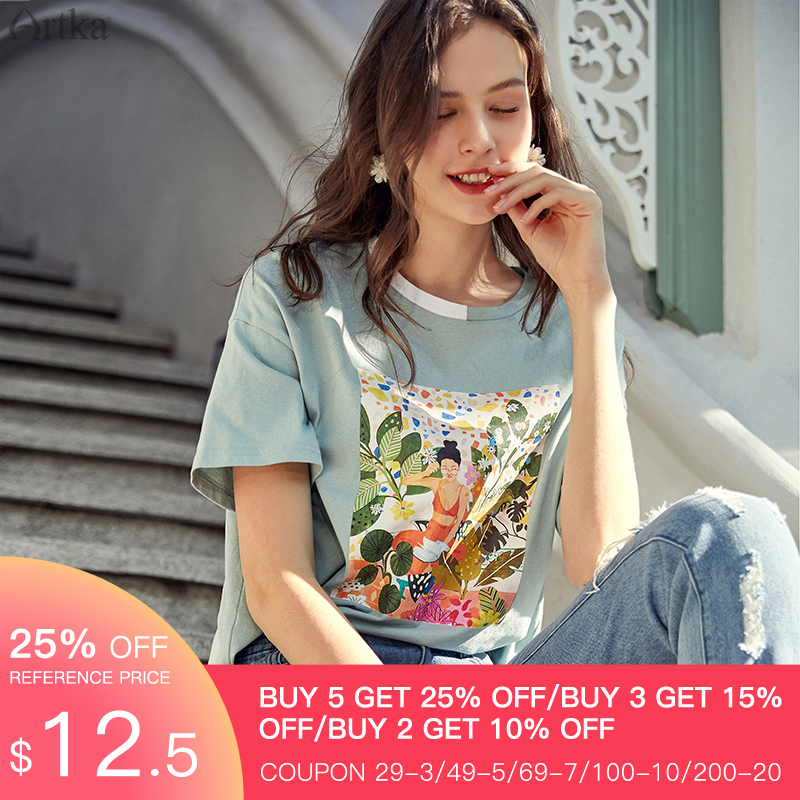 ARTKA 2020 Summer New Women T-shirt 100% Cotton Fashion Print O-Neck T-shirt Loose Casual Short Sleeve T-shirts Women TA20302C
