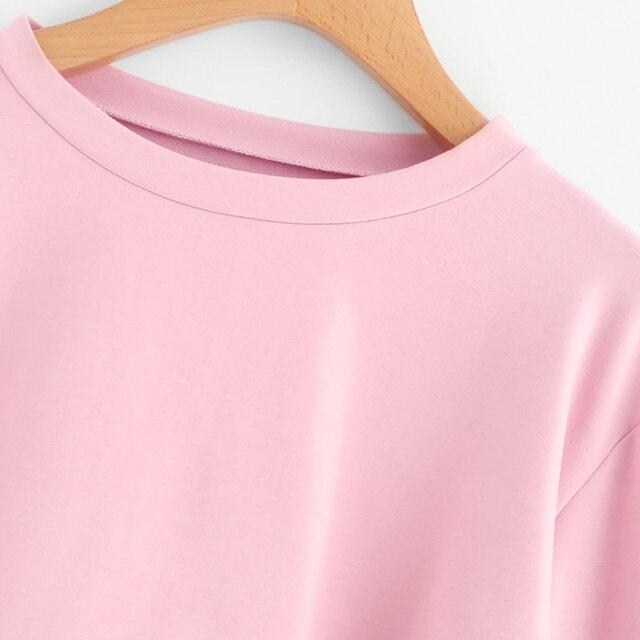 Women Crop Top Hoodie Casual Lace Up Long Sleeve Pink Bandage Pullover Cropped Top Sweatshirt Sweat Korean Femme Streetwear 3