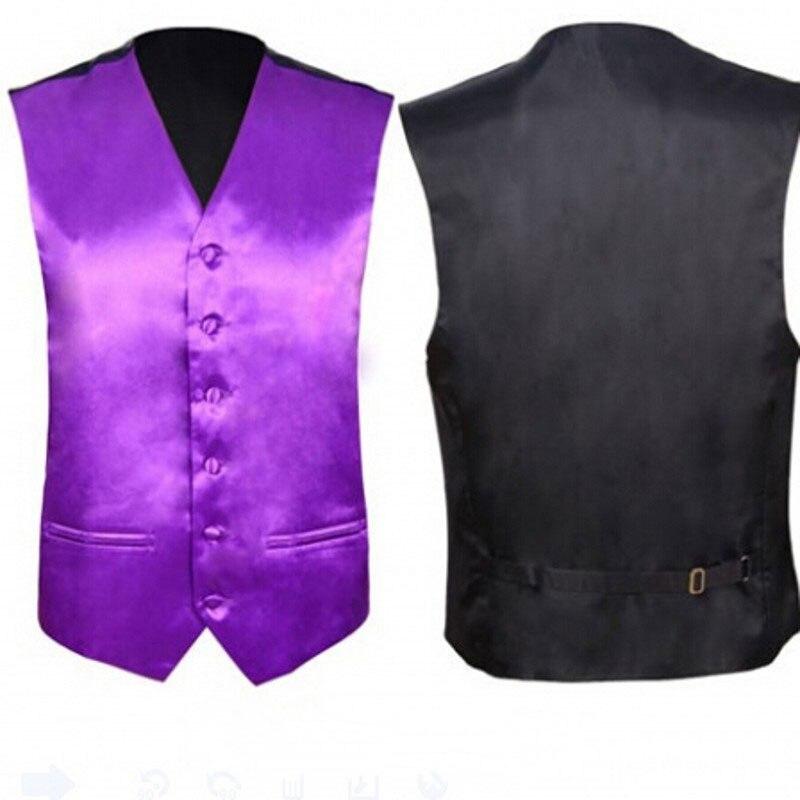 Purple Silk Dress Vest Men 2020 Brand New Slim Fit V Neck Satin Waistcoat Male Casual Wedding Party Tuxedo Vests Chaleco Hombre