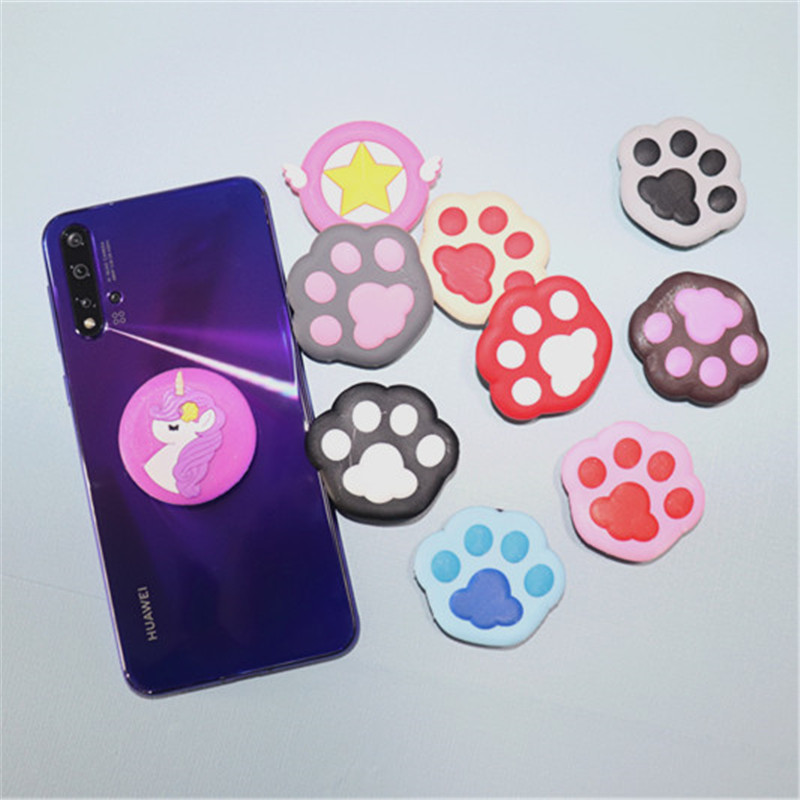 Pony <font><b>dog</b></font> paw cartoon pattern stand <font><b>table</b></font> hot phone stand extension stand phone stand universal mobile phone image