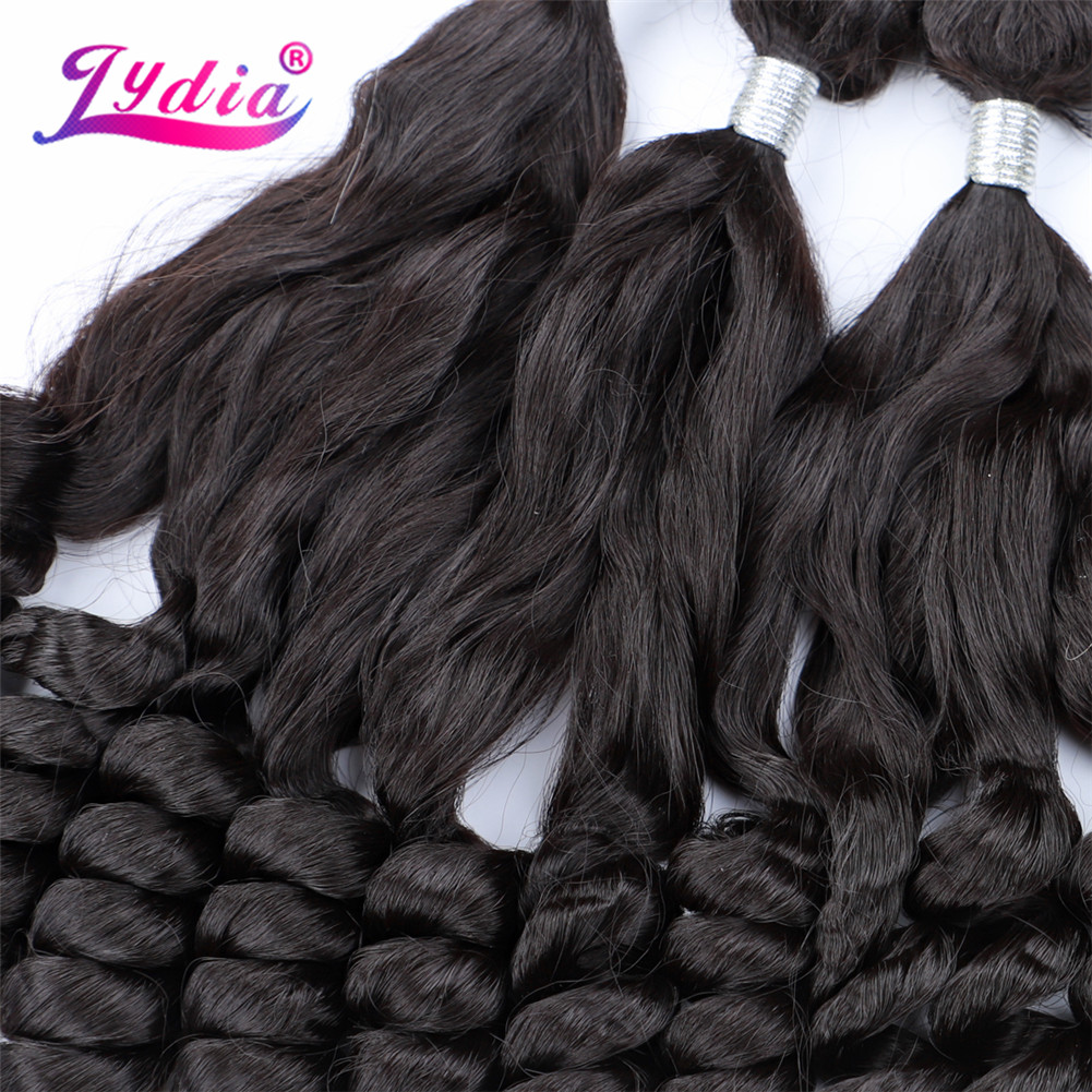 ¼PromoteLydia Hair-Extensions Synthetic Weaving Loose-Wave Double-Weft Women Black with for 20-26-6pcs/Lotⁿ