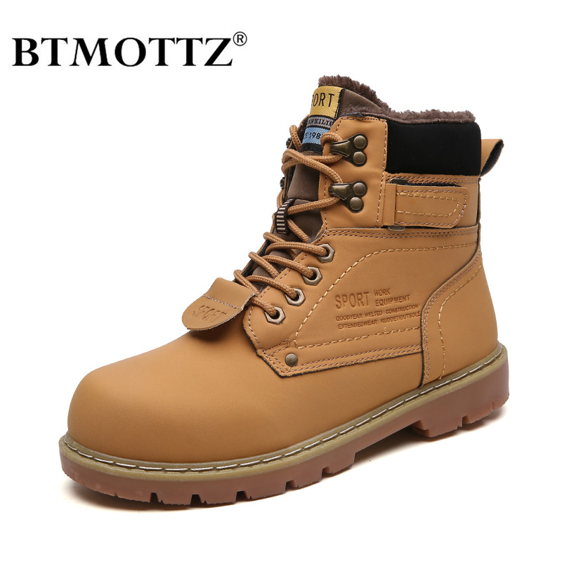 Winter Ankle Boots Men Casual Shoes Outdoor Autumn Leather Waterproof Work Tooling Mens Boots Warm Military Army Botas BTMOTTZ