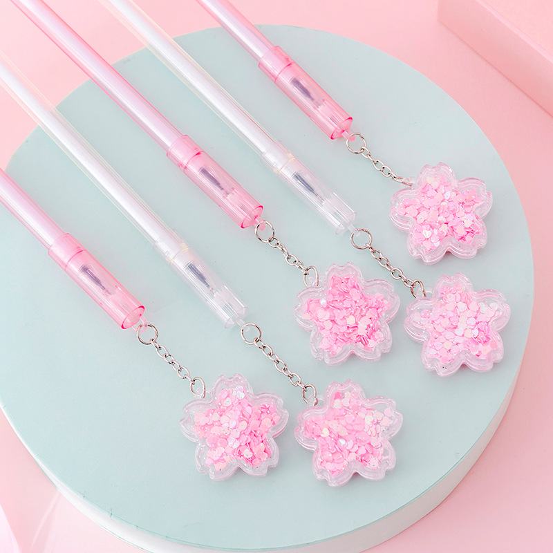 4 Pcs/lot Cherry Sakura Quicksand Sequins Gel Pen Ink Marker Pen School Office Writing Supply Stationery Escolar Papelaria