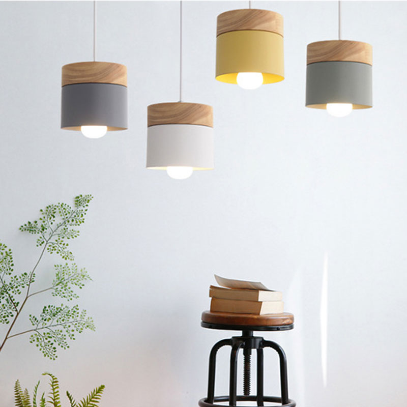 Nordic simplicity LED E27 Pendant light Modern macaron Hanging Lights Home improvement Iron and wood decoration Pendant lamp