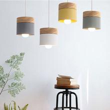 Nordic prostota LED E27 wisiorek światło nowoczesne macaron światła wiszące majsterkowanie żelaza i dekoracja z drewna lampa wisząca