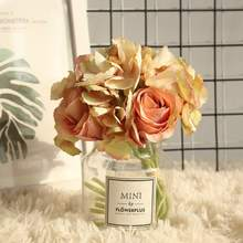 Artificial Flower Rose Hydrangea Bunch Home Decoration Wedding Holding Road Lead Wall Fake Flowe