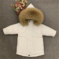 children winter ski jacket real fur 90% duck down kids thick warm outerwear parkas coat baby boys girls 80 140cm snow jacket