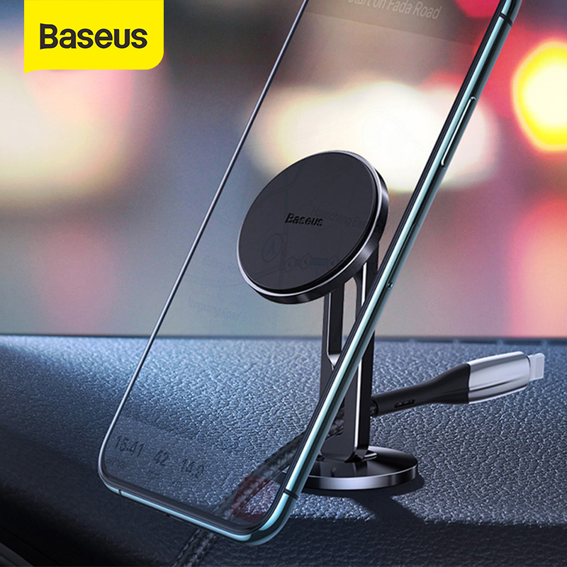 Baseus Magnetic Car Phone Holder Alumnium 360° Rotation Auto Stand For Iphone 11 Pro Max Samsung Mobilephone Car Support Mount