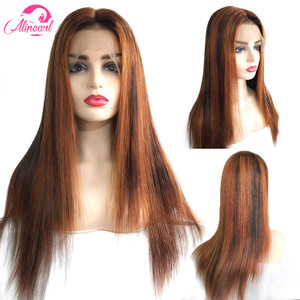 AliPear Hair Colored Straight Lace Front Human Hair Wigs PrePlucked 180% 250% Density Brazilian Virgin Hair Wigs For Black Women(China)