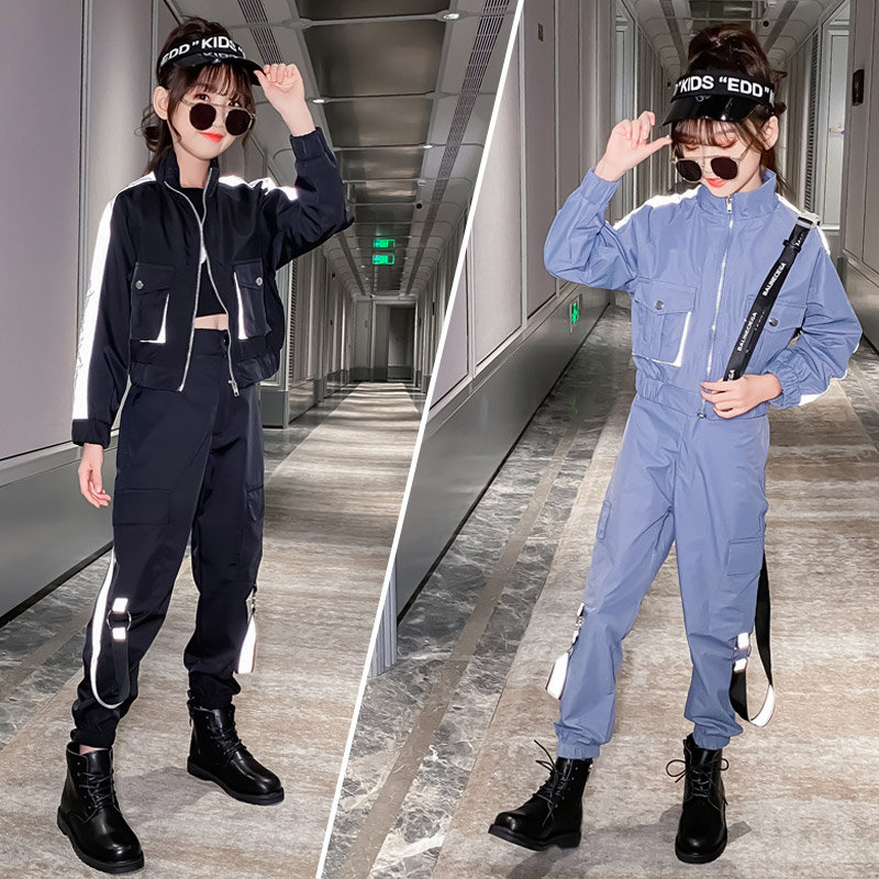 Kids Costume Teen Girls Clothing Set 2020 Autumn Striped Reflect Jacket Pants Suit School Girl Tracksuit Cool Clothes Set 10 12Y
