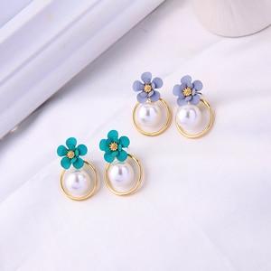 Милые Новые корейские серьги-подвески ручной работы с зелеными/синими цветами для женщин оптом