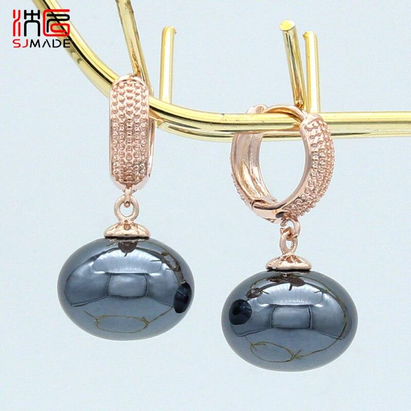 SJMADE Europe America Fashion Imitation Big Bread Pearl Dangle Earrings For Women Wedding Jewelry Vintage 585 Rose Gold Eardrop