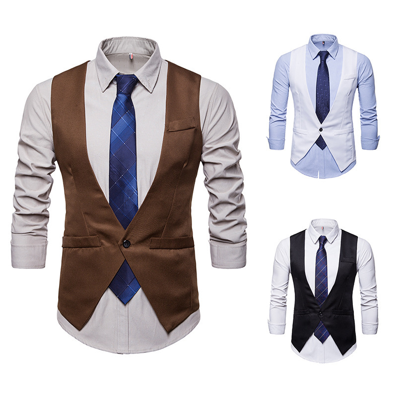 Men Suit Vest V Neck Brown Black Single Button Slim Men Waistcoat Casual Formal Business Groomman For Male Wedding Vest