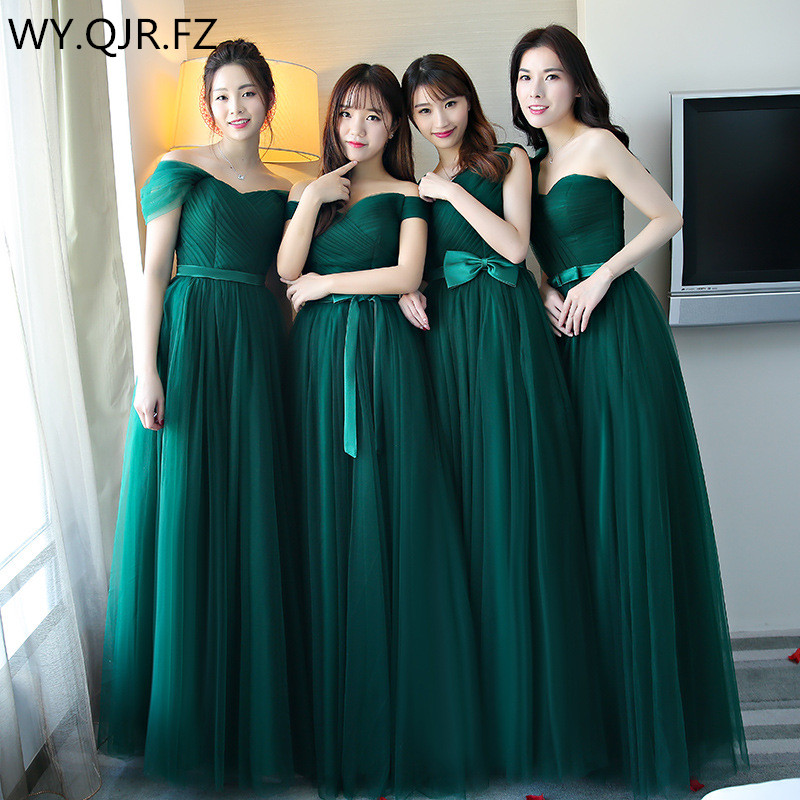 BSHS-8075#Blackish Green Bridesmaid Dresses Long Weding Party Dress Lace Up Graduation Christmas Dress Cheap Wholesale Girls