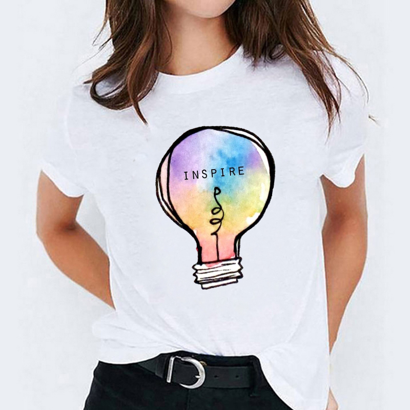 T shirts Top for Women Watercolor Feather Bird Cartoon 90s Casual Print Lady  Womens Graphic T Shirt Ladies Female Tee T Shirt