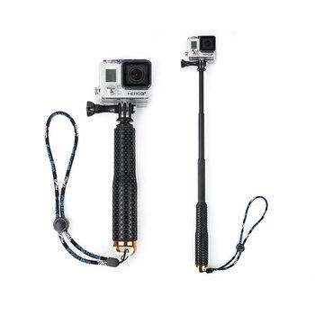 Extensible aleación de aluminio auto Selfie Stick Handheld Monopod buceo desde para Gopro Hero 5 4 3 + 3 2 sj4000 Xiaomi yi Cámara deportiva