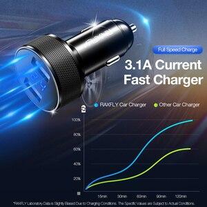 Автомобильное USB зарядное устройство RAXFLY для Xiaomi, автомобильное зарядное устройство для мобильного телефона, 5 В, 2,4 А, двойное USB Автомобильное зарядное устройство, быстрая зарядка с цифровым дисплеем