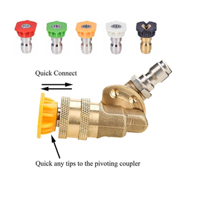 Image 2 - HNYRI Adjustable 1/4 inch Quick Connector Rotary Coupler Adapter for High Pressure Car Washer Lance Brass Gun Ceramics Nozzles