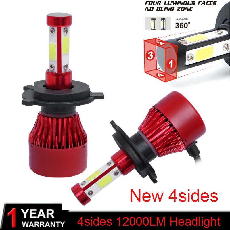 MUXALL Headlight H4 LED Bulb <font><b>H7</b></font> H11 H1 H3 9006/HB4 9005/HB3 9004 9007 H13 Headlamp kit 80W <font><b>12000lm</b></font> Car LED Head Light H 4 7 Lamp image