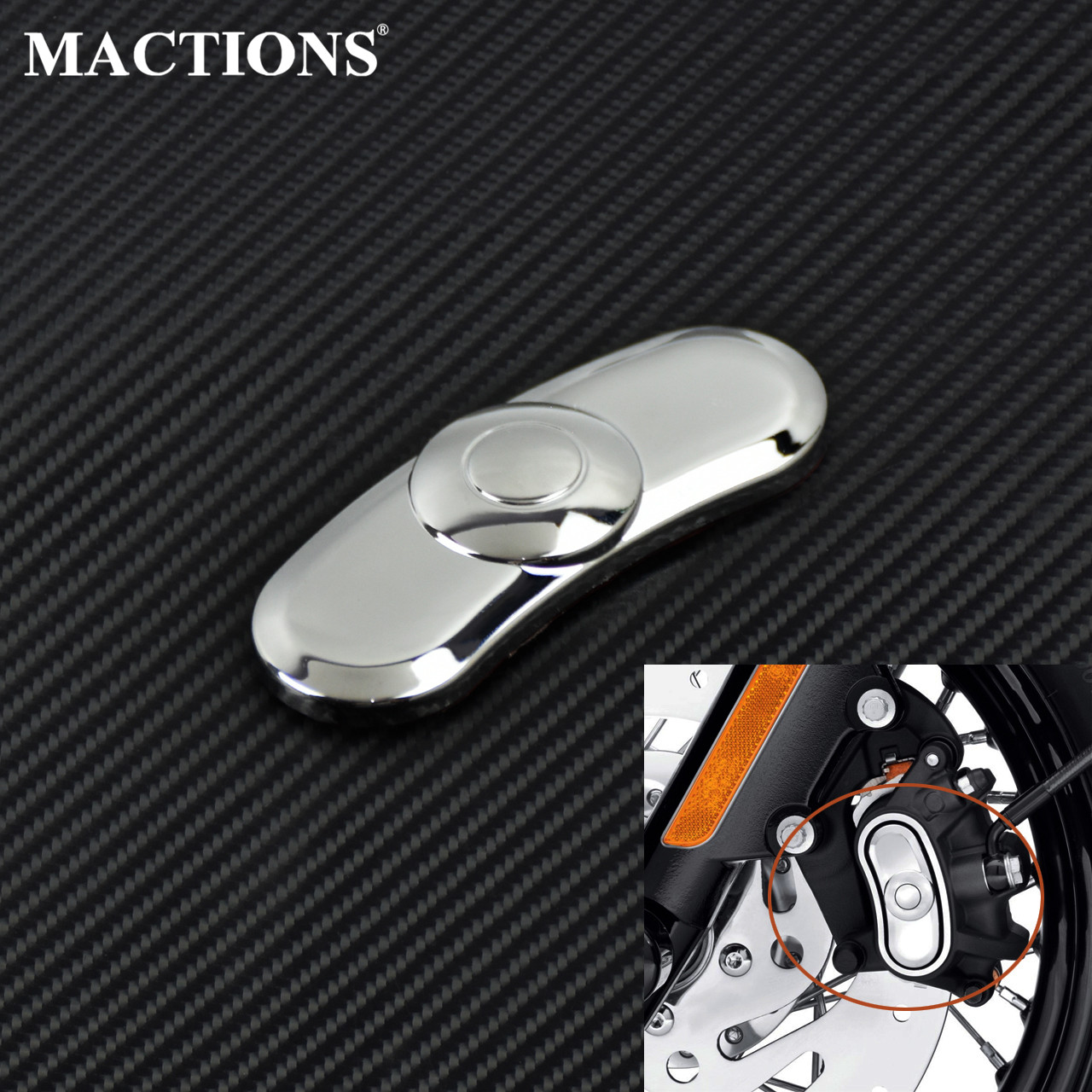Motorcycle Front Rear Brake Caliper Sticker ABS Chrome For <font><b>Harley</b></font> Sportster <font><b>Iron</b></font> <font><b>883</b></font> 1200 Custom Forty Eight SuperLow 2014-19 image
