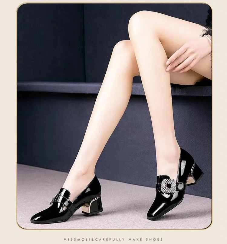 British Style Women Work Shoes Thick Heel Single Shoes