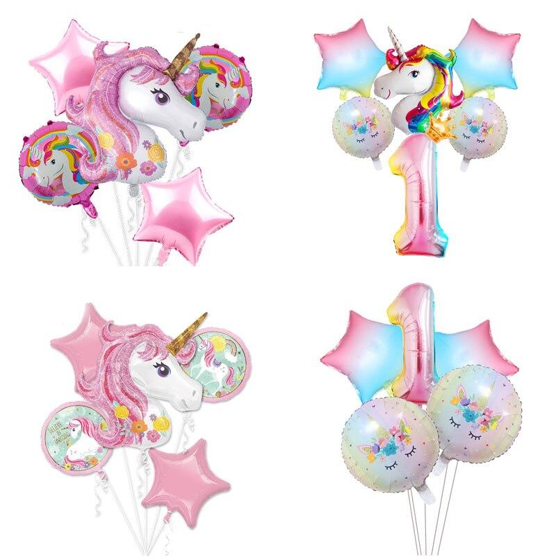 1 conjunto unicórnio folha balões festa de aniversário decorações meninas suprimentos chuveiro do bebê látex confetes balão crianças brinquedos de ar globos