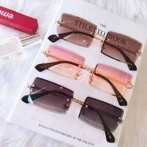 Rimless Sunglasses Shades Rectangle Small Gold Trendy Fashion Women Summer Brown UV400