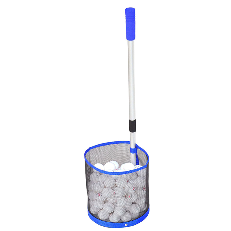 Telescopic Table Tennis Ball Picker 2 Section Aluminum Pole Table Tennis Picking Net Collection Can Hold 120 PCS Ping Pong Balls