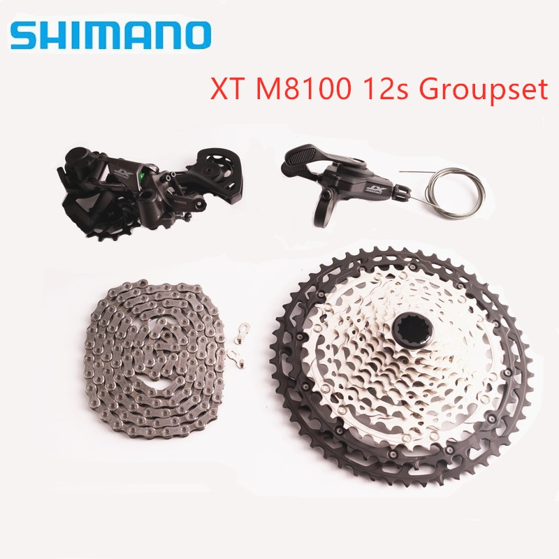 SHIMANO DEORE XT M8100 12s Groupset M8100 Shifter Rear Derailleur Chain Cassette MTB Mountain Bike 1x12-Speed 51T SL+RD+CS+HG image