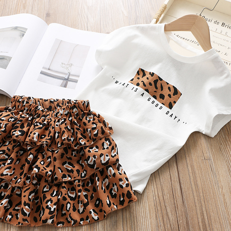Thunderers Summer Girl Clothes Suit Cartoon Shirt With Leopard Skirt Toddler Baby 2pcs Outfits Casual Cotton Elegant Costume