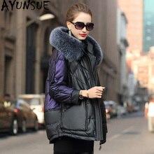 AYUNSUE 리얼 가죽 자켓 겨울 코트 여성 폭스 모피 칼라 워밍업 자켓 여성 정품 양모 코트 Chaqueta Mujer 619048