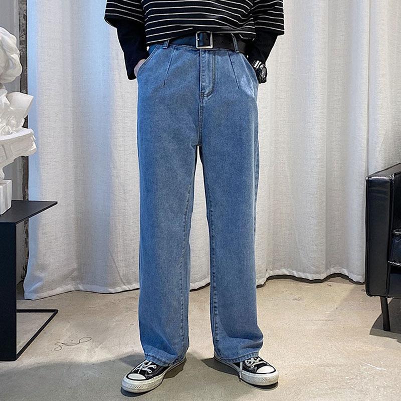 Men Loose Casual Wide Leg Jeans Male High Street Vintage Fashion Hip Hop Harem Straight Denim Pants Cowboy Trousers