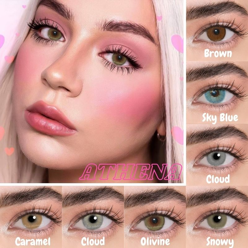 Bio-essence 2 pces/1 par de lentes de contato de cor anual athena lentillas colores azules cosméticos para olhos coloridos azul beaute