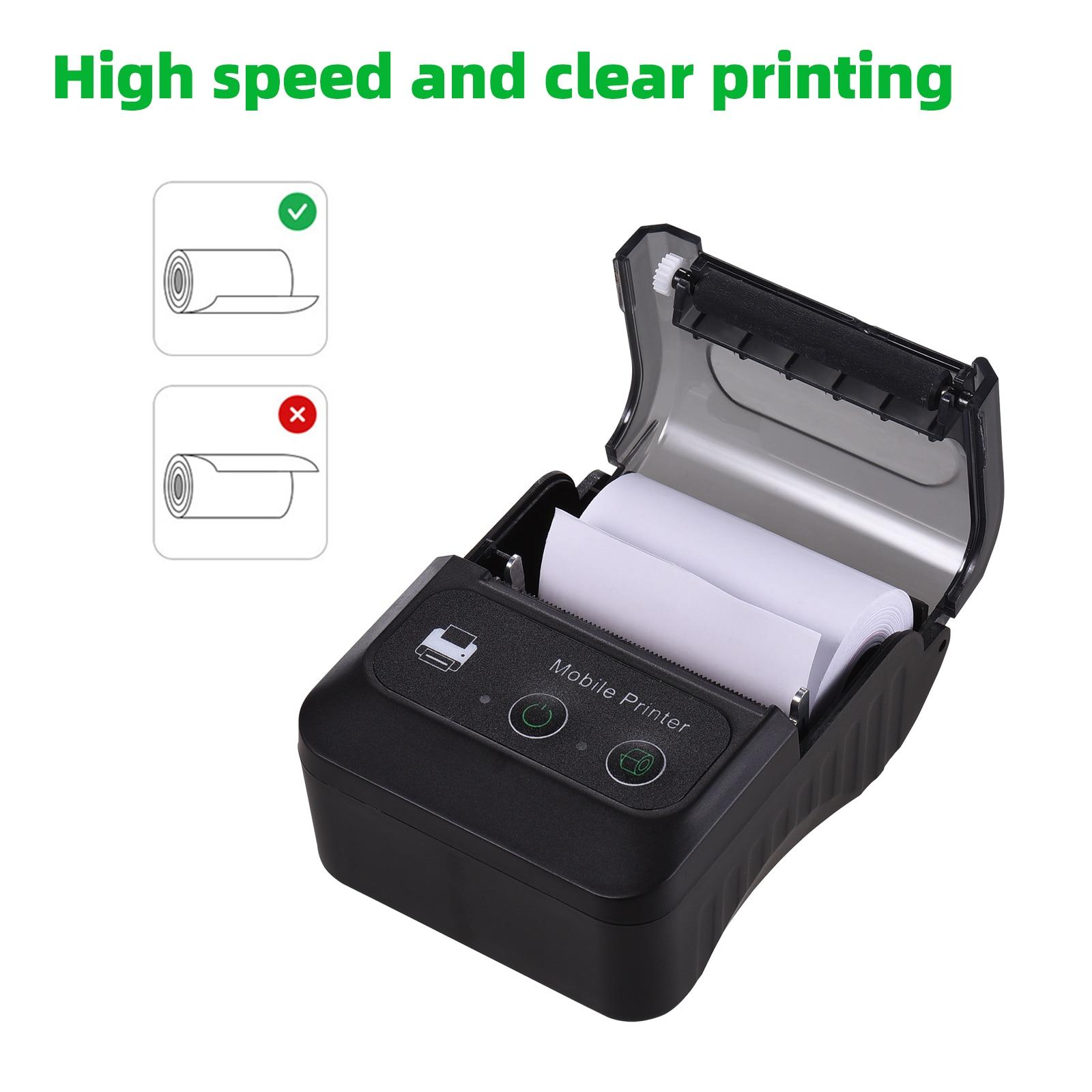 Impressora térmica portátil de recibos, bluetooth, tamanho