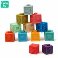 Juguetes de bloques de construcción de goma de silicona suave para bebé con cubos táctiles en 3D