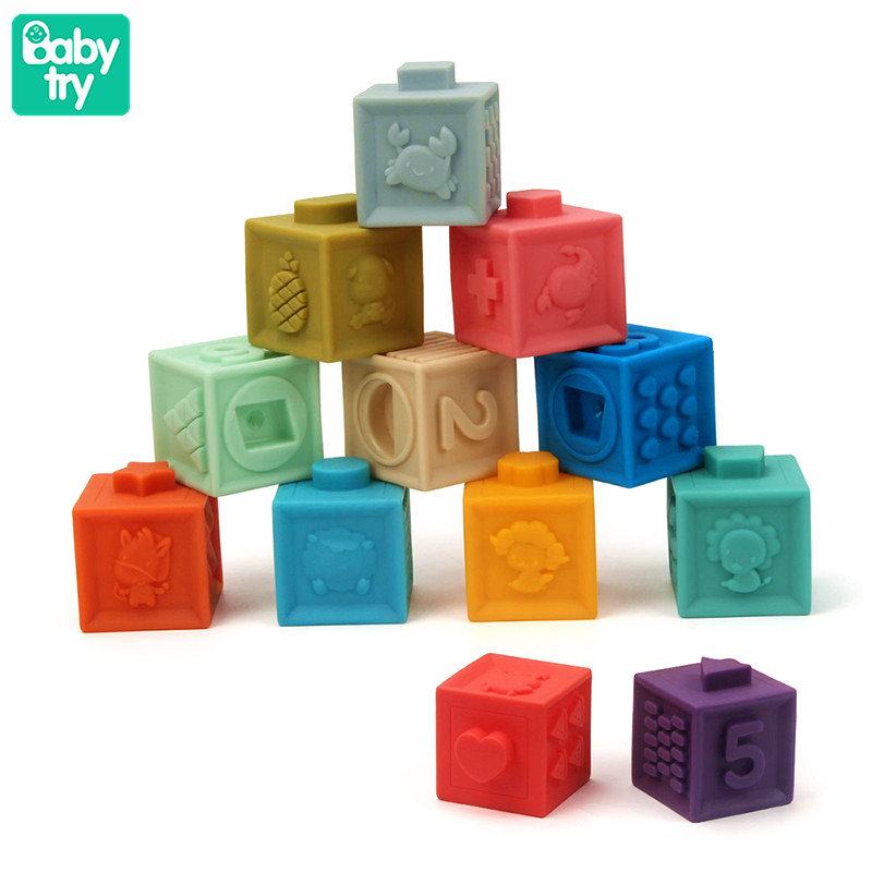 3D Touch Cubes Juguetes Embossed Hand Ball Bricks Baby Teether Large Squeeze Soft Silicone Rubber Building Blocks Toys For Baby