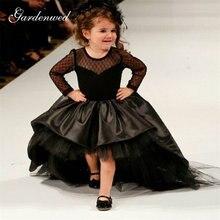 Черные Платья с цветочным принтом для девочек высокий низкий
