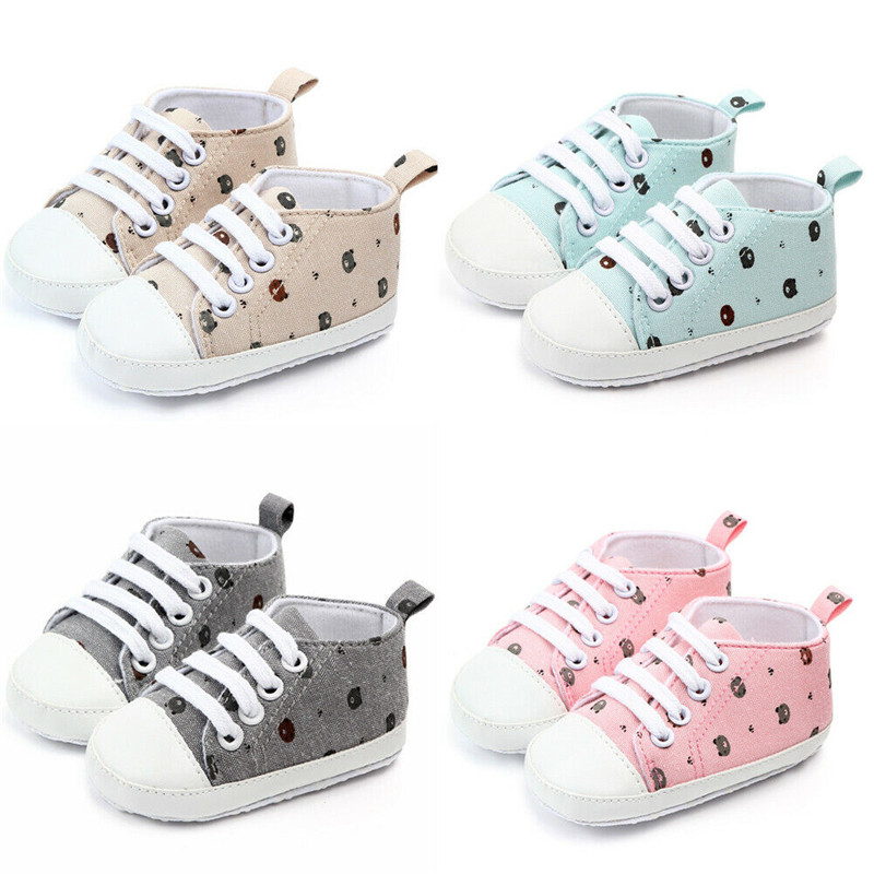 Cute Newborn Infant Baby Boy Girl Printed Crib Shoes Soft Sole Pram Anti-slip Sneaker