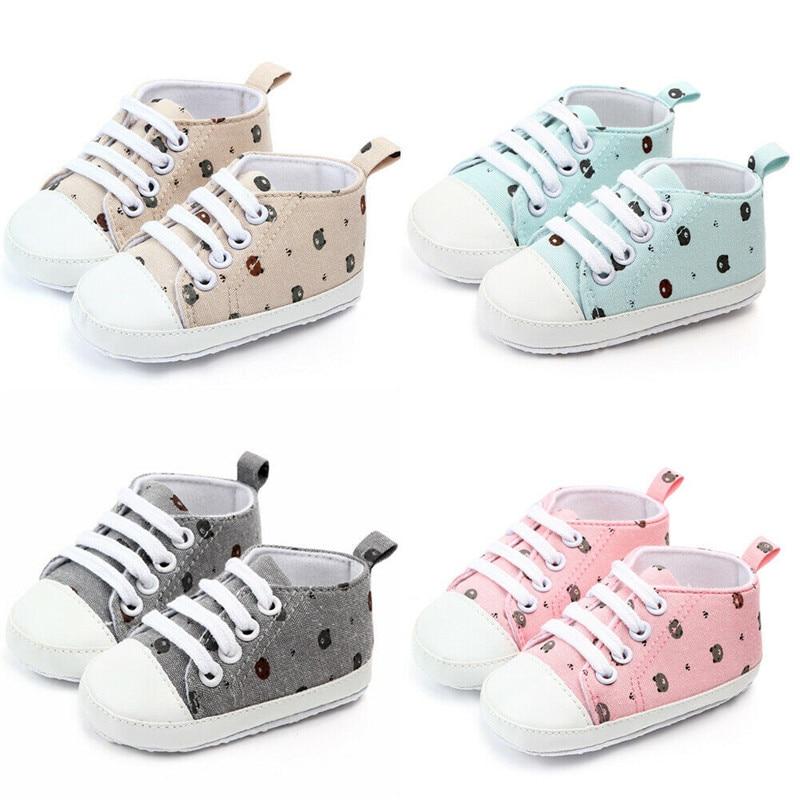 Cute Newborn Infant Baby Boy Girl Printed Crib Shoes Soft Sole Pram Anti-slip Sneaker