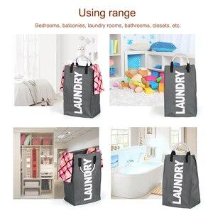 Image 5 - Bolsa plegable para la colada, cesto grande para ropa sucia, clasificador de tela Oxford, bolsa de ropa sucia con mango de aluminio