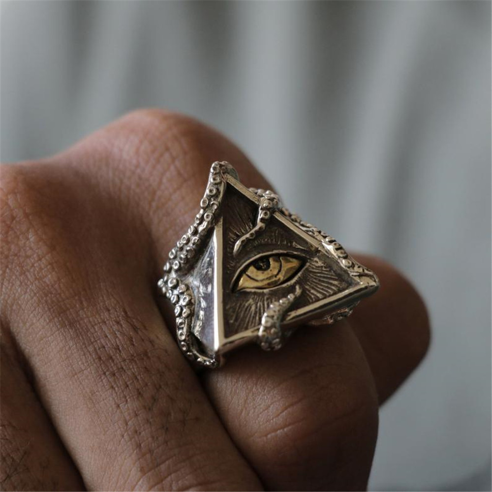 FDLK   Vintage Octopus Triangle Eye Ring Classic Men Fashion Punk Party Ring Accessories Jewelry For Male Party Best Gift